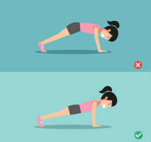 wrong and right plank posture,vector illustration